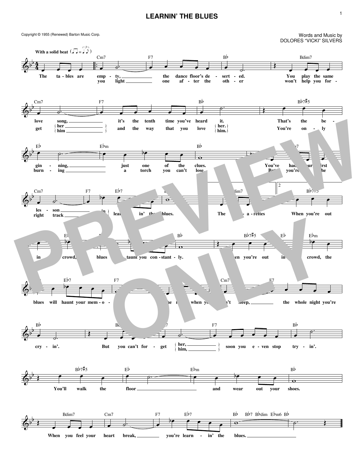 Rosemary Clooney Learnin' The Blues sheet music notes and chords. Download Printable PDF.