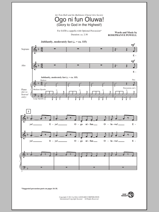 Rosephanye Powell Ogo Ni Fun Oluwa! (Glory To God In The Highest!) sheet music notes and chords. Download Printable PDF.