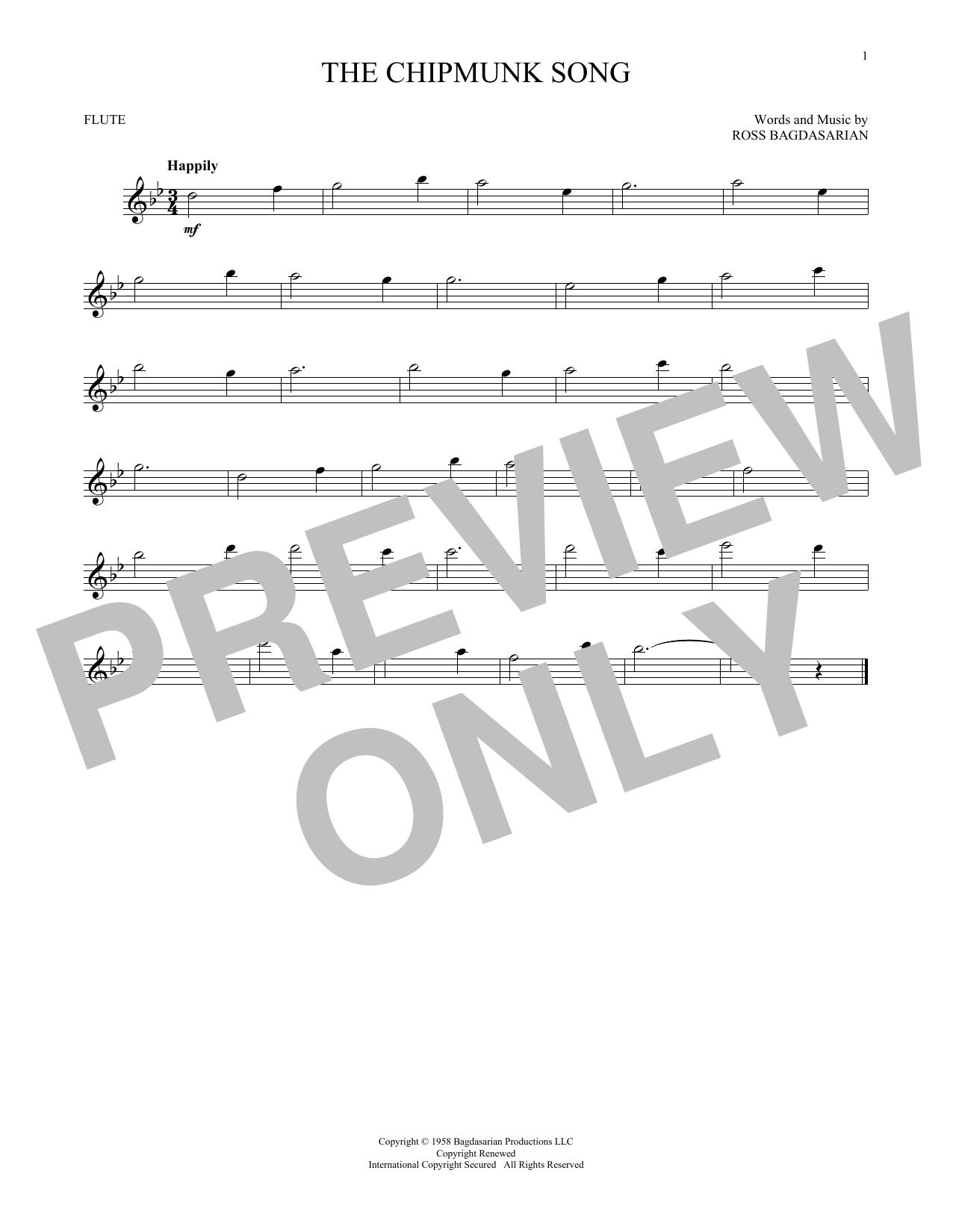 Ross Bagdasarian The Chipmunk Song sheet music notes and chords. Download Printable PDF.
