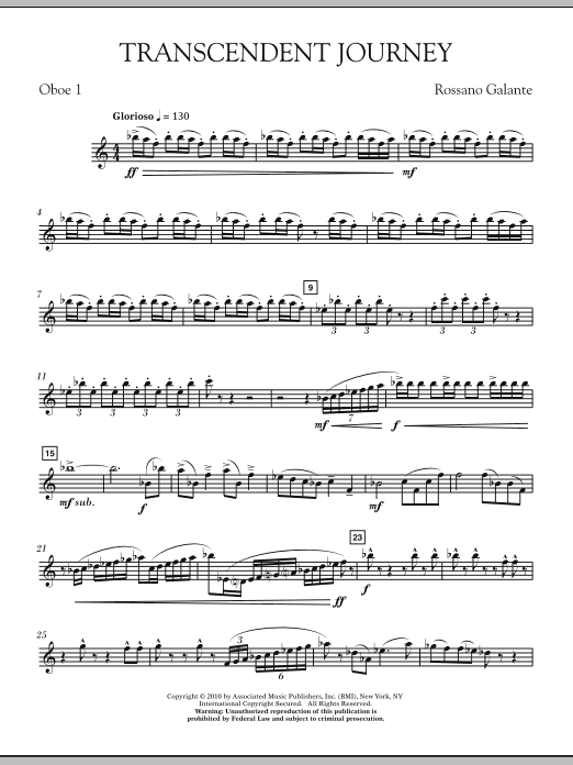 Rossano Galante Transcendent Journey - 1st Oboe sheet music notes and chords
