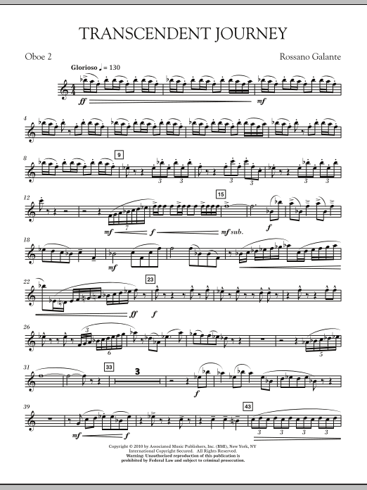 Rossano Galante Transcendent Journey - 2nd Oboe sheet music notes and chords