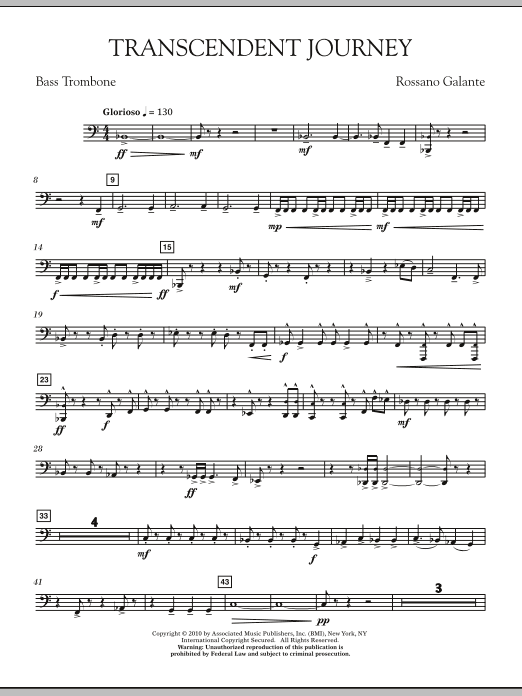 Rossano Galante Transcendent Journey - Bass Trombone sheet music notes and chords. Download Printable PDF.