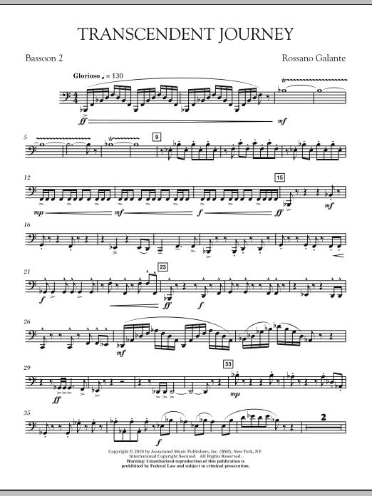 Rossano Galante Transcendent Journey - Bassoon 2 sheet music notes and chords. Download Printable PDF.