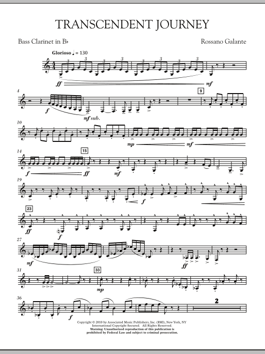 Rossano Galante Transcendent Journey - Bb Bass Clarinet sheet music notes and chords