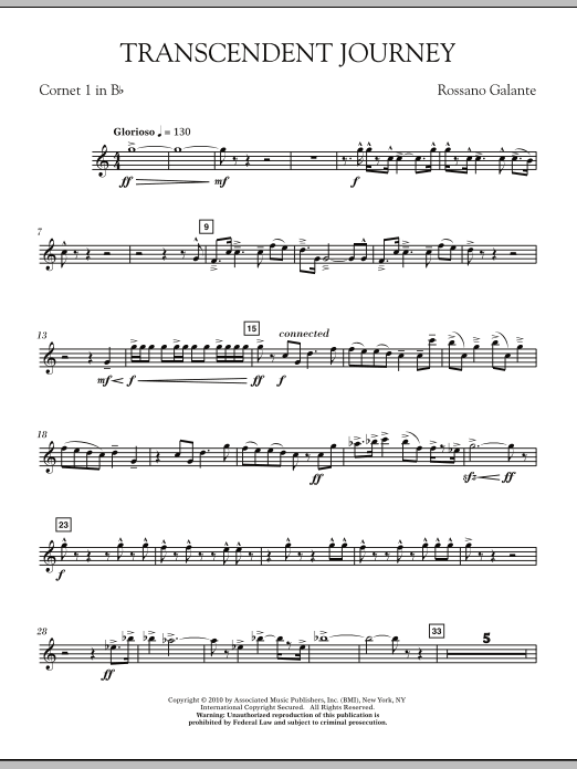 Rossano Galante Transcendent Journey - Bb Cornet 1 sheet music notes and chords. Download Printable PDF.