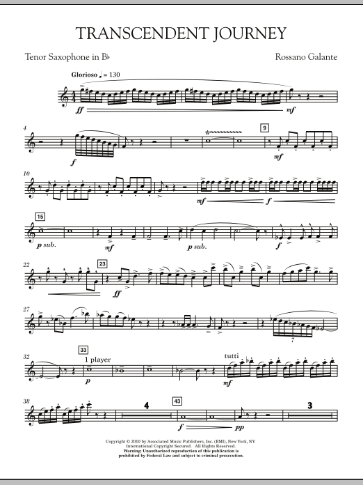 Rossano Galante Transcendent Journey - Bb Tenor Saxophone sheet music notes and chords