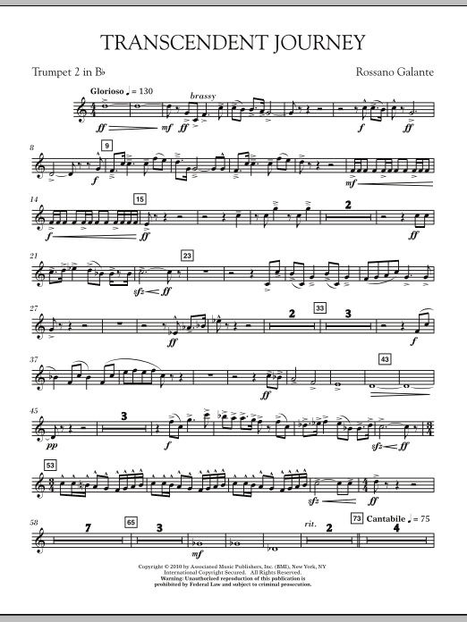 Rossano Galante Transcendent Journey - Bb Trumpet 2 sheet music notes and chords