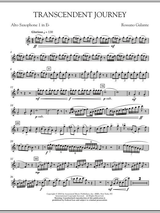 Rossano Galante Transcendent Journey - Eb Alto Saxophone 1 sheet music notes and chords. Download Printable PDF.