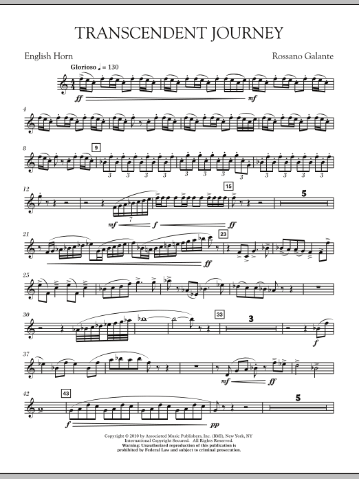 Rossano Galante Transcendent Journey - English Horn sheet music notes and chords