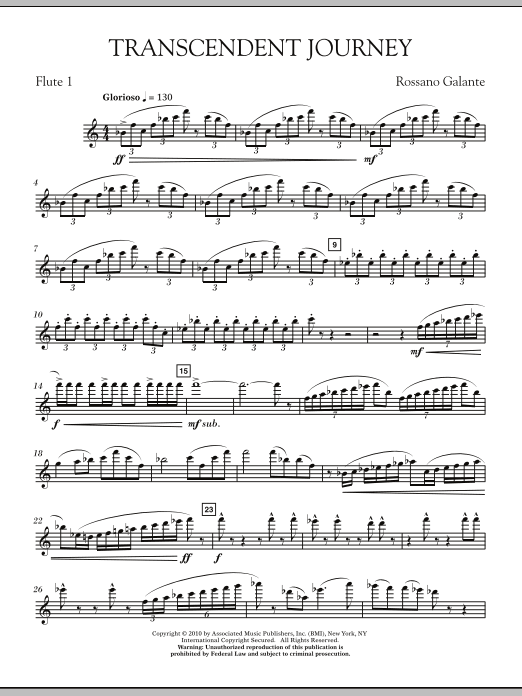 Rossano Galante Transcendent Journey - Flute 1 sheet music notes and chords. Download Printable PDF.