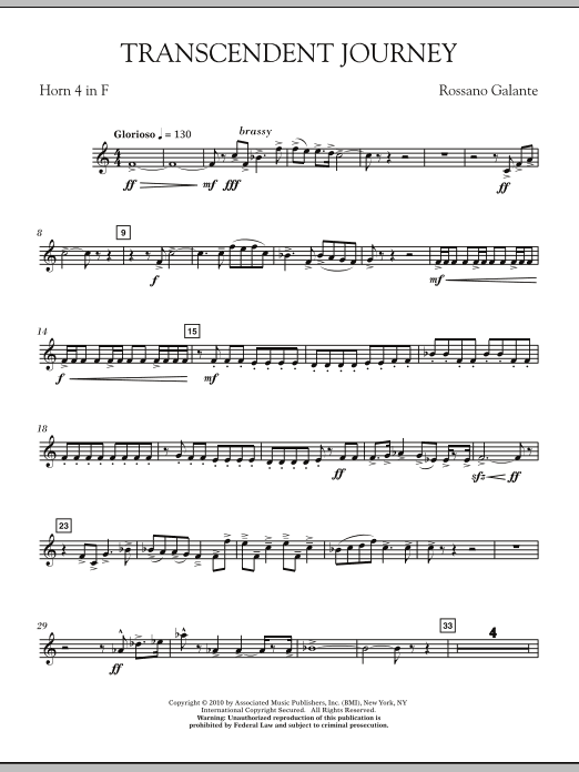 Rossano Galante Transcendent Journey - Horn 4 in F sheet music notes and chords