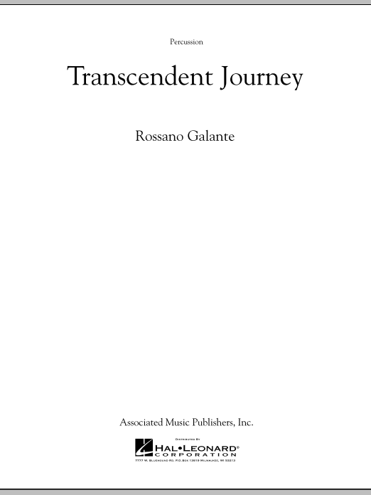 Rossano Galante Transcendent Journey - Percussion sheet music notes and chords. Download Printable PDF.