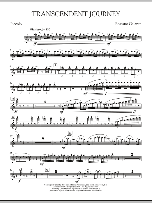 Rossano Galante Transcendent Journey - Piccolo sheet music notes and chords