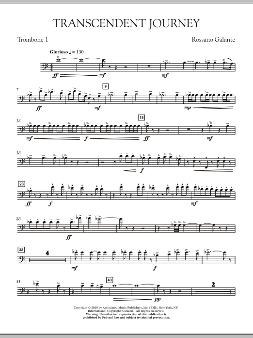 Rossano Galante Transcendent Journey - Trombone 1 sheet music notes and chords. Download Printable PDF.