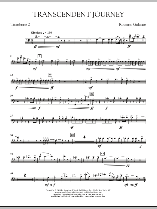 Rossano Galante Transcendent Journey - Trombone 2 sheet music notes and chords