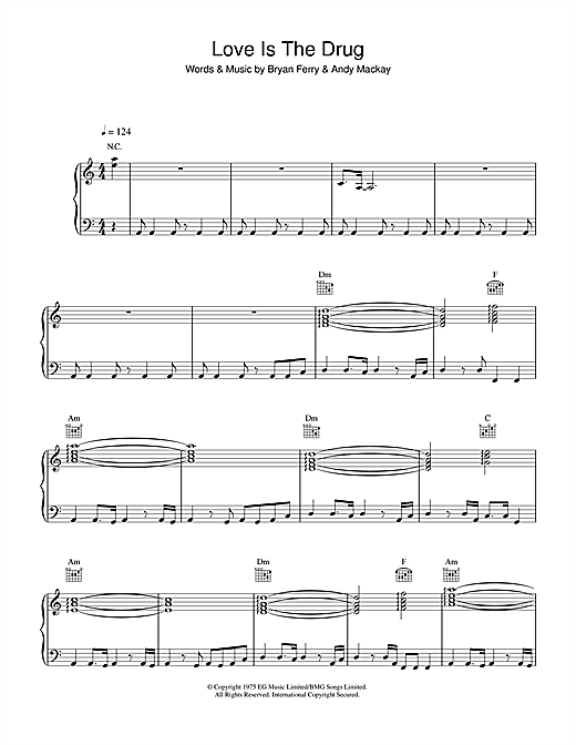 Roxy Music Love Is The Drug sheet music notes and chords. Download Printable PDF.