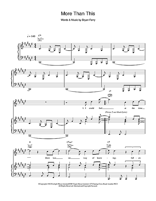 Roxy Music More Than This sheet music notes and chords. Download Printable PDF.
