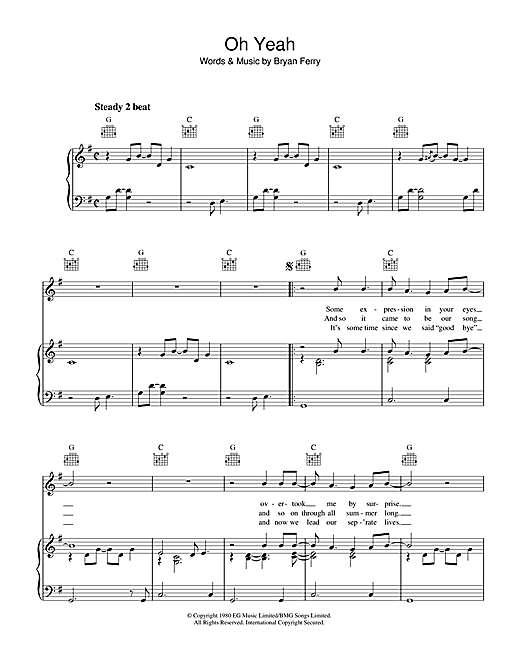 Roxy Music Oh Yeah sheet music notes and chords. Download Printable PDF.