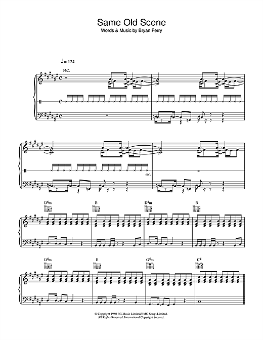 Roxy Music Same Old Scene sheet music notes and chords. Download Printable PDF.