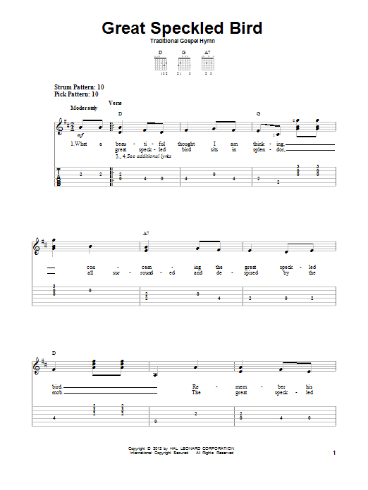 Roy Acuff 'Great Speckled Bird' Sheet Music Notes, Chords | Download  Printable Easy Guitar Tab - SKU: 87898