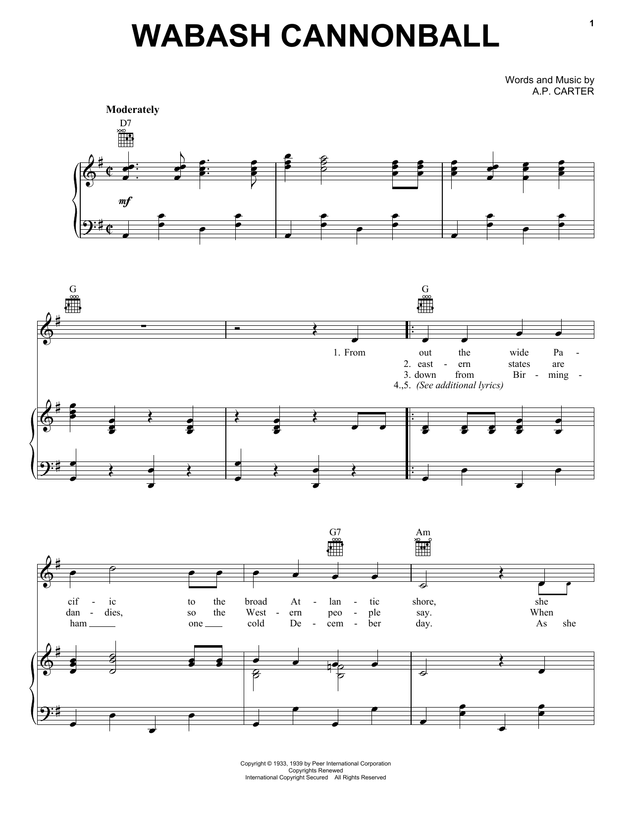 Roy Acuff Wabash Cannonball sheet music notes and chords. Download Printable PDF.