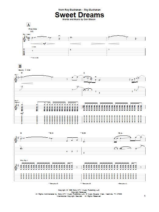 Roy Buchanan Sweet Dreams sheet music notes and chords. Download Printable PDF.