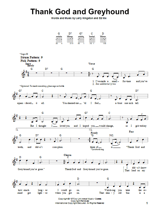Roy Clark Thank God And Greyhound sheet music notes and chords. Download Printable PDF.