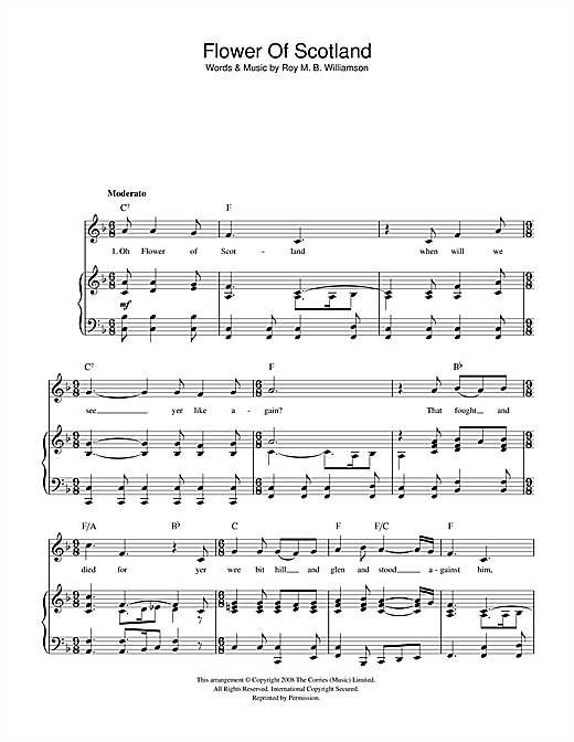 Roy M. B. Williamson Flower Of Scotland (Unofficial Scottish National Anthem) sheet music notes and chords. Download Printable PDF.