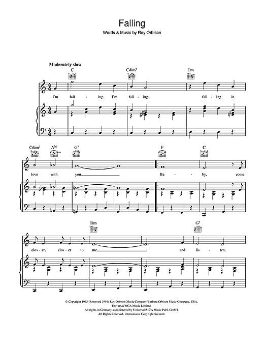 Roy Orbison Falling sheet music notes and chords