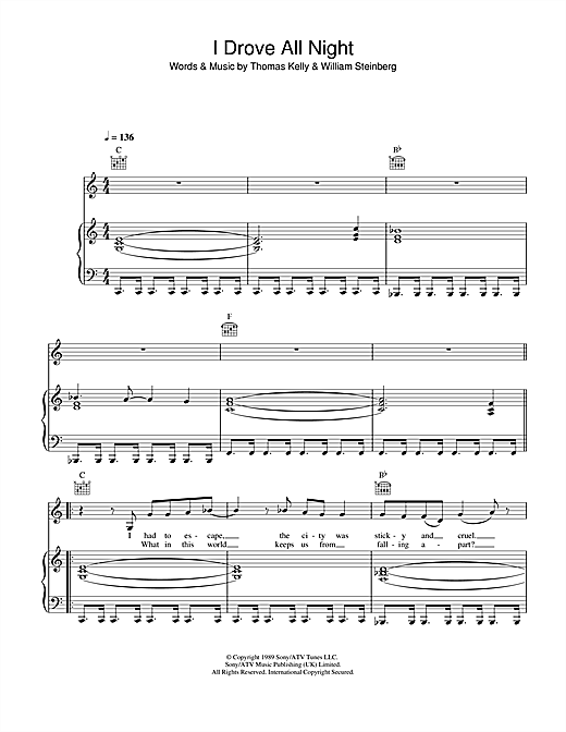 Roy Orbison I Drove All Night sheet music notes and chords. Download Printable PDF.