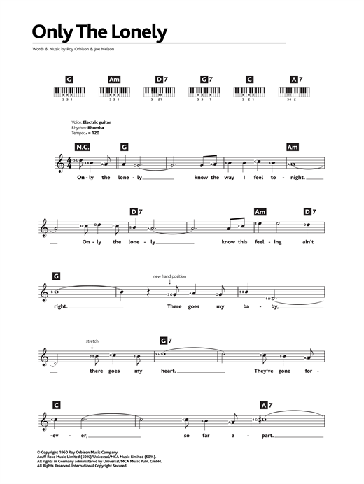 Roy Orbison Only The Lonely sheet music notes and chords. Download Printable PDF.