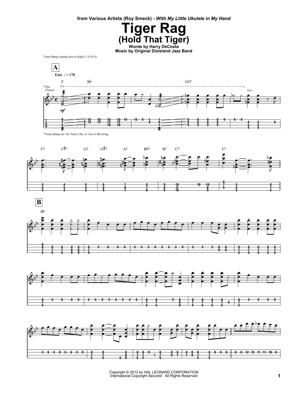 Roy Smeck Tiger Rag (Hold That Tiger) sheet music notes and chords. Download Printable PDF.