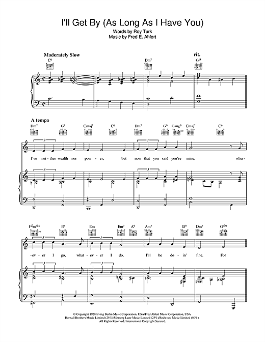 Roy Turk I'll Get By sheet music notes and chords. Download Printable PDF.