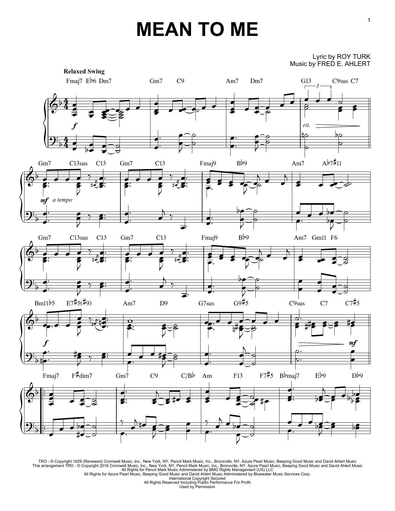 Roy Turk Mean To Me sheet music notes and chords. Download Printable PDF.
