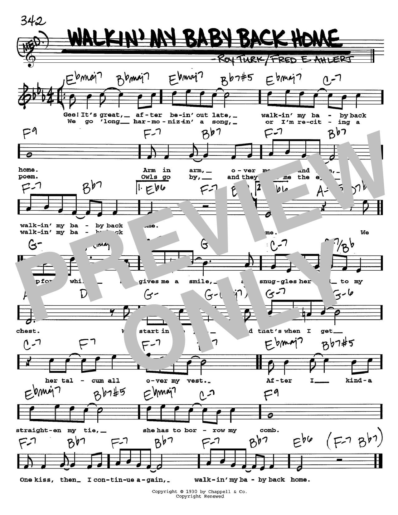 Roy Turk Walkin' My Baby Back Home sheet music notes and chords. Download Printable PDF.