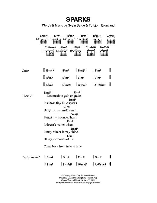 Royksopp Sparks sheet music notes and chords