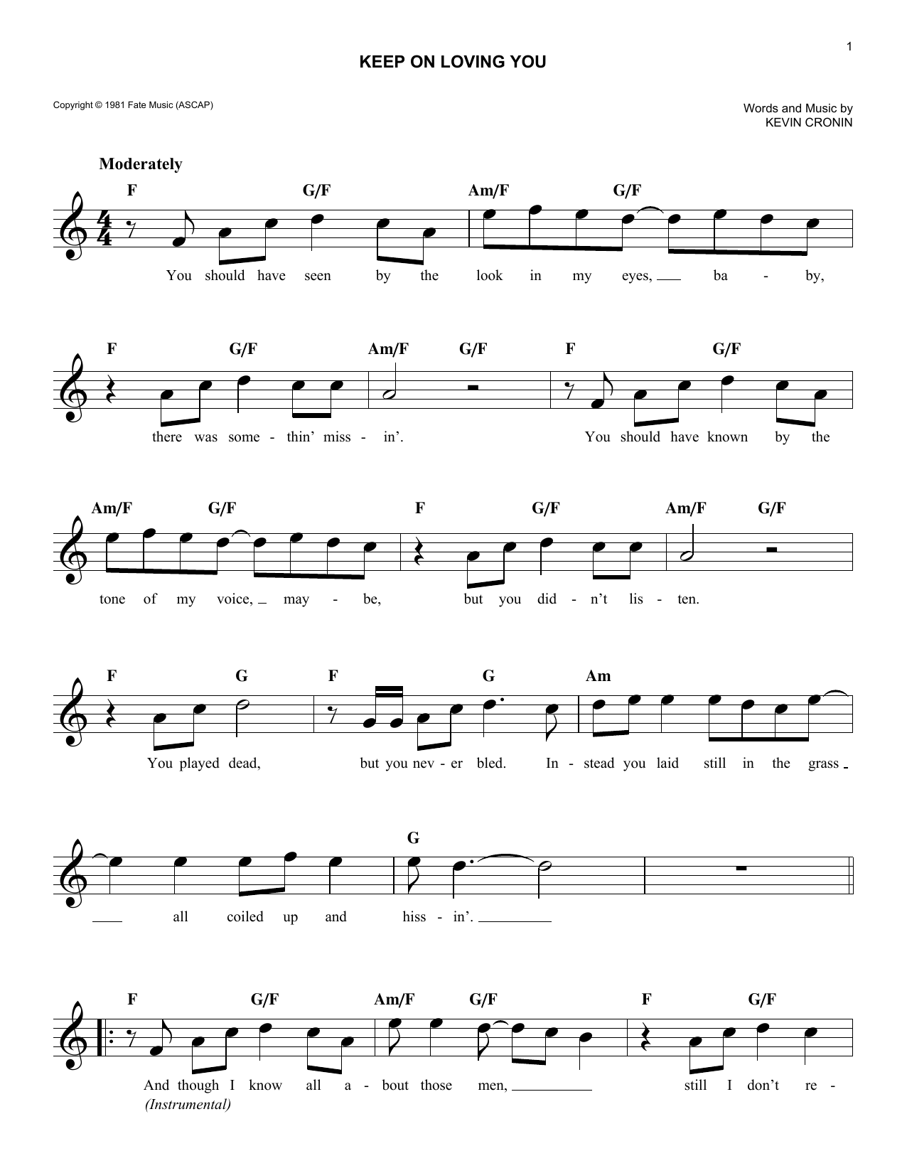 R.E.O. Speedwagon Keep On Loving You Sheet Music Notes, Chords   Download  Printable Lead Sheet / Fake Book PDF Score   SKU 15