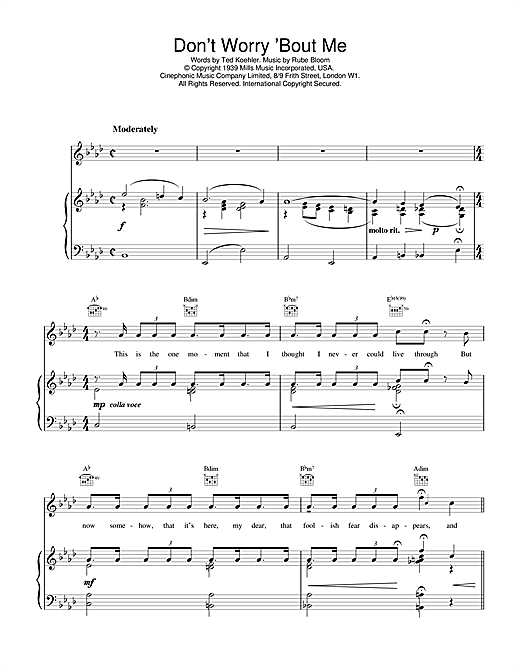 Rube Bloom Don't Worry 'Bout Me sheet music notes and chords