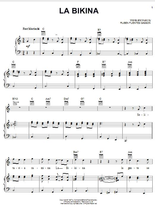 Ruben Fuentes Gasson La Bikina sheet music notes and chords