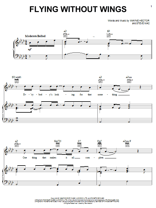 Ruben Studdard Flying Without Wings sheet music notes and chords. Download Printable PDF.