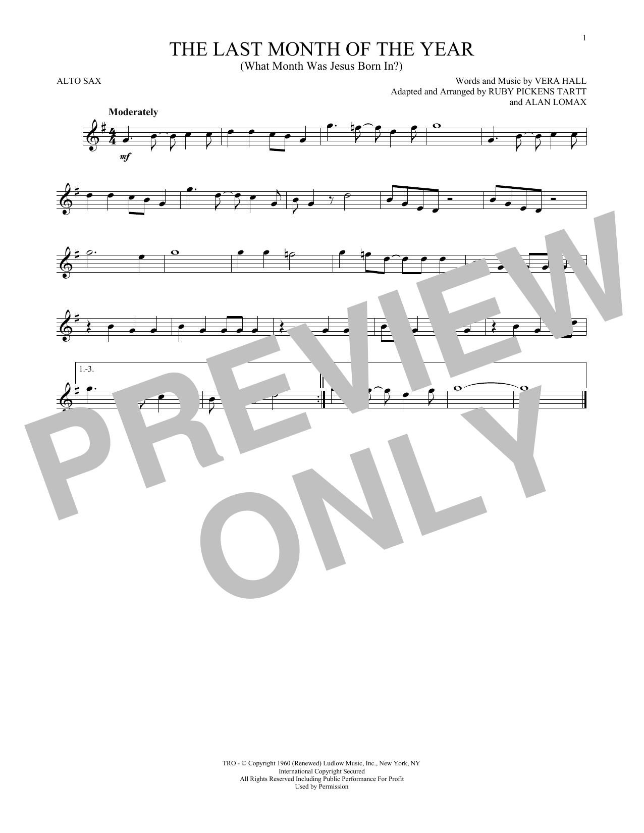 Ruby Pickens Tartt The Last Month Of The Year (What Month Was Jesus Born In?) sheet music notes and chords. Download Printable PDF.