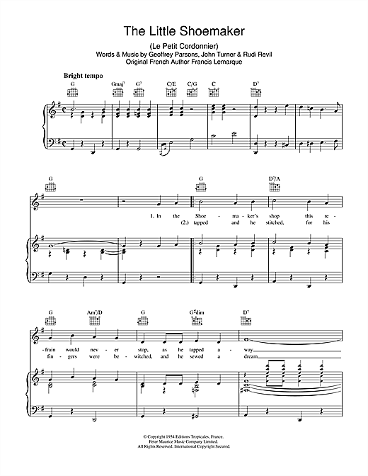 Rudi Revil The Little Shoemaker sheet music notes and chords. Download Printable PDF.