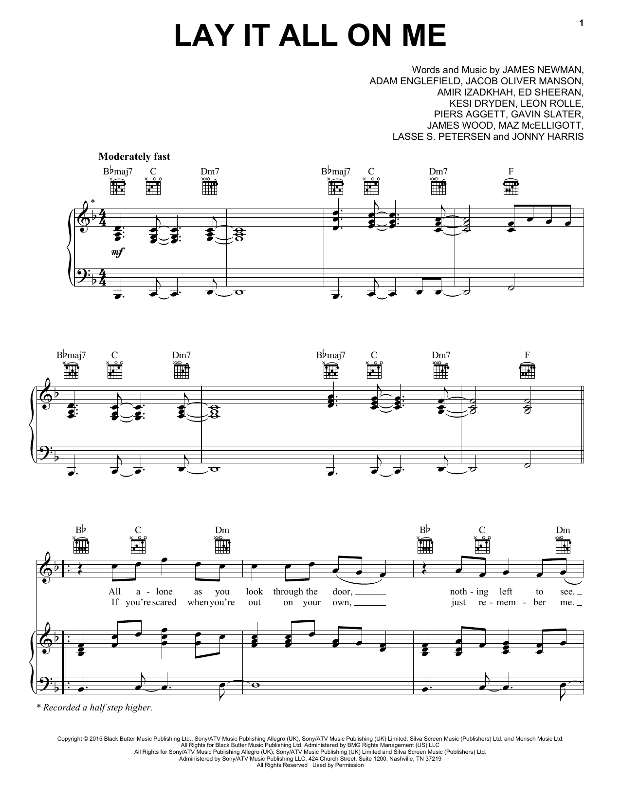 Rudimental feat. Ed Sheeran Lay It All On Me sheet music notes and chords. Download Printable PDF.