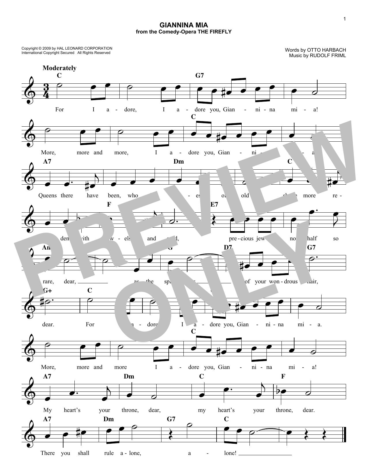 Rudolf Friml Giannina Mia sheet music notes and chords. Download Printable PDF.