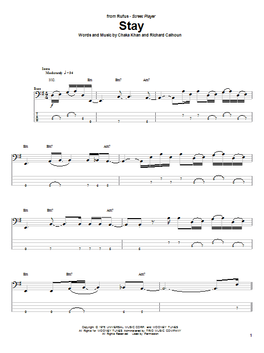 Rufus Stay sheet music notes and chords. Download Printable PDF.