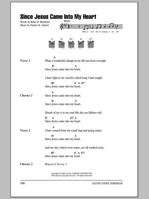 Rufus H. McDaniel Since Jesus Came Into My Heart sheet music notes and chords. Download Printable PDF.