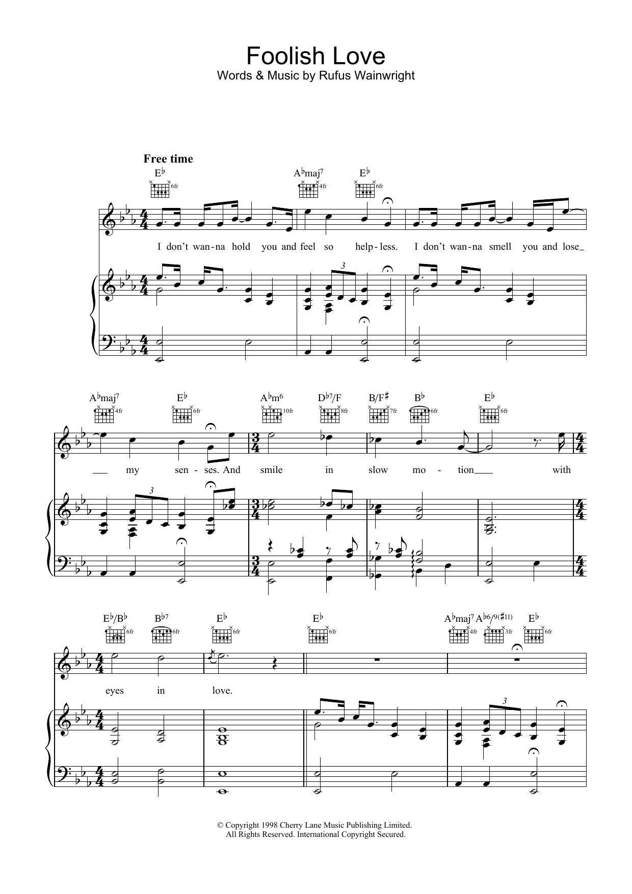 Rufus Wainwright Foolish Love sheet music notes and chords. Download Printable PDF.