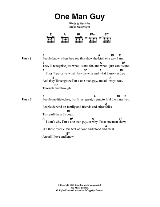 Rufus Wainwright One Man Guy sheet music notes and chords. Download Printable PDF.