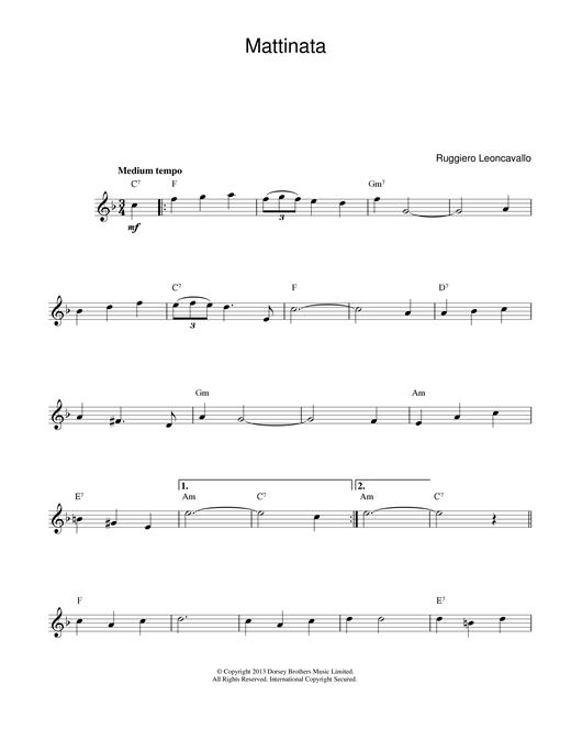 Ruggero Leoncavallo Mattinata sheet music notes and chords