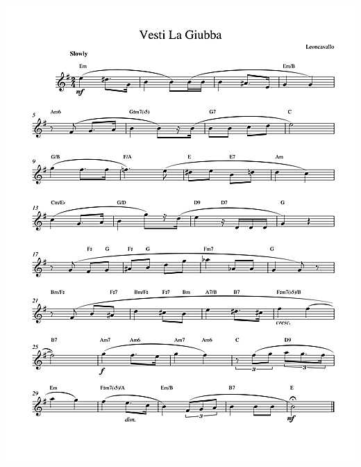 Ruggero Leoncavallo Vesti La Giubba sheet music notes and chords